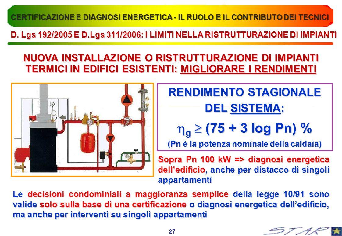 RENDIMENTO STAGIONALE DEL SISTEMA: g (75 + 3 log Pn) % g (75 + 3 log Pn) % (Pn è la potenza nominale della caldaia) Sopra Pn 100 kW => diagnosi energe