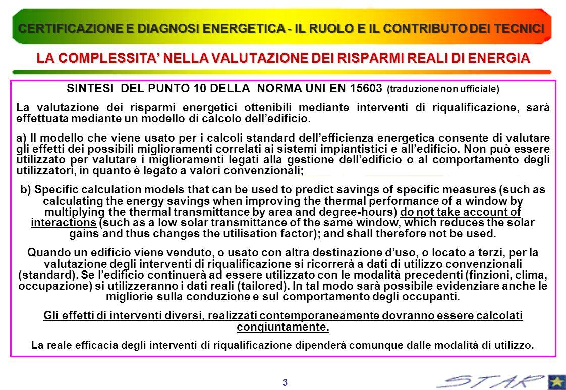 LA COMPLESSITA NELLA VALUTAZIONE DEI RISPARMI REALI DI ENERGIA SINTESI DEL PUNTO 10 DELLA NORMA UNI EN 15603 (traduzione non ufficiale) La valutazione