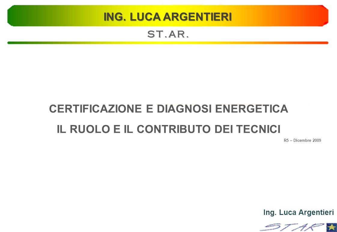 CERTIFICAZIONE E DIAGNOSI ENERGETICA IL RUOLO E IL CONTRIBUTO DEI TECNICI R5 – Dicembre 2009 Ing. Luca Argentieri ING. LUCA ARGENTIERI ST.AR.