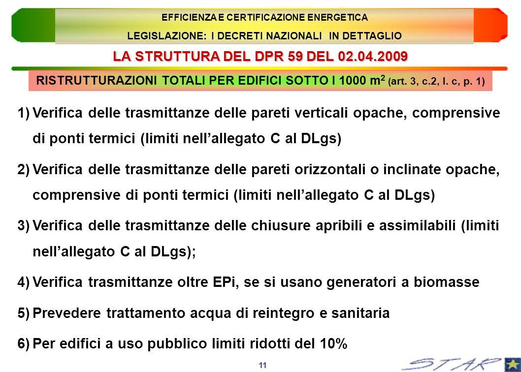 LA STRUTTURA DEL DPR 59 DEL 02.04.2009 RISTRUTTURAZIONI TOTALI PER EDIFICI SOTTO I 1000 m 2 ( art. 3, c.2, l. c, p. 1) 11 EFFICIENZA E CERTIFICAZIONE