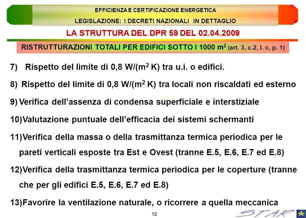 LA STRUTTURA DEL DPR 59 DEL 02.04.2009 12 EFFICIENZA E CERTIFICAZIONE ENERGETICA LEGISLAZIONE: I DECRETI NAZIONALI IN DETTAGLIO 7)Rispetto del limite