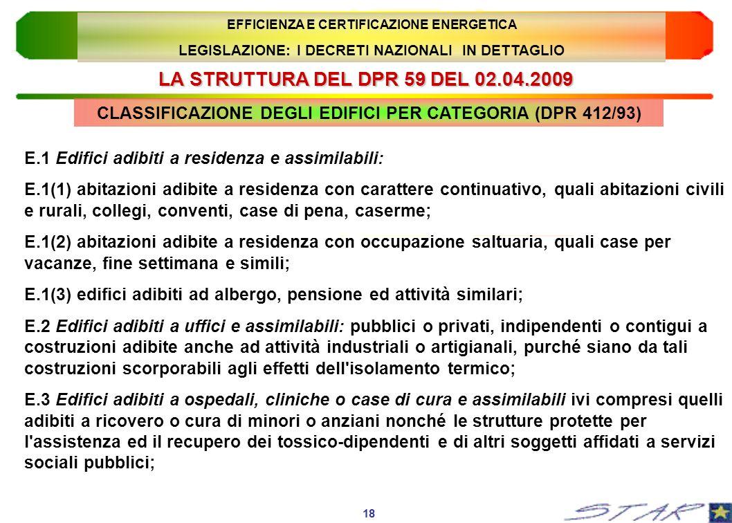 LA STRUTTURA DEL DPR 59 DEL 02.04.2009 CLASSIFICAZIONE DEGLI EDIFICI PER CATEGORIA (DPR 412/93) 18 EFFICIENZA E CERTIFICAZIONE ENERGETICA LEGISLAZIONE