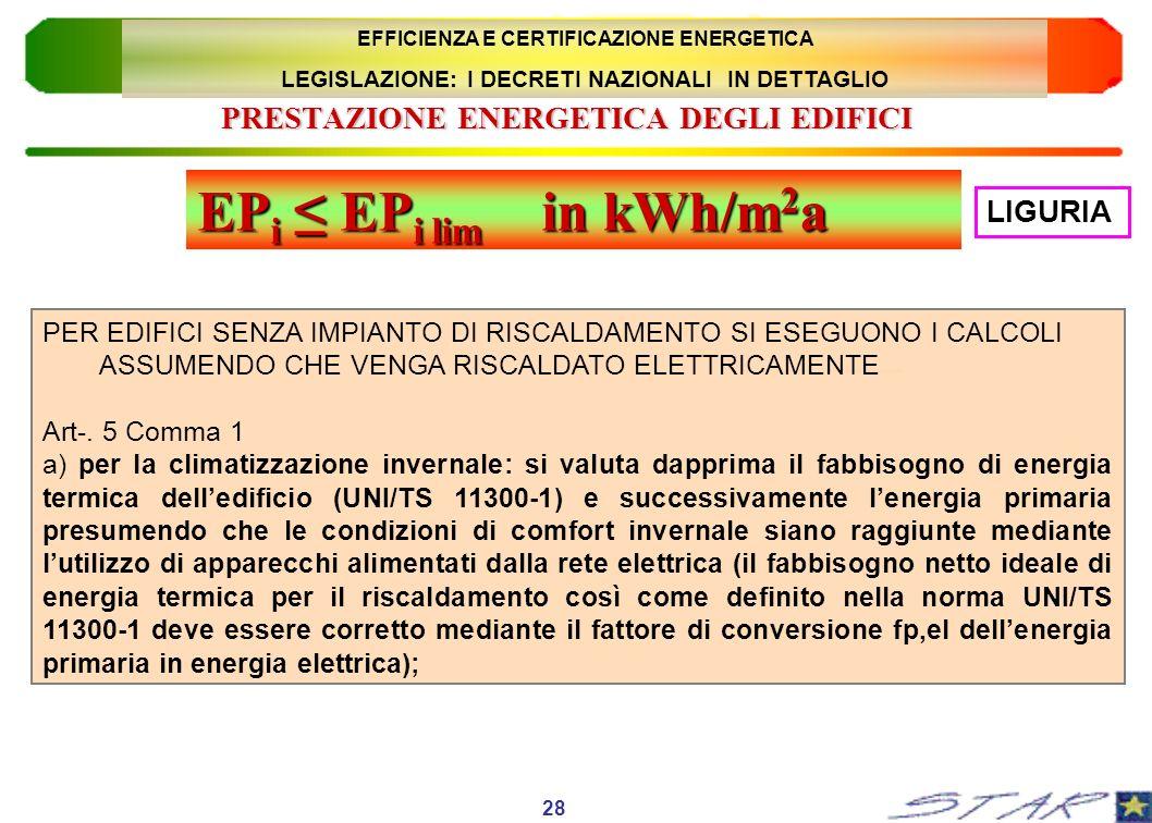 PRESTAZIONE ENERGETICA DEGLI EDIFICI PER EDIFICI SENZA IMPIANTO DI RISCALDAMENTO SI ESEGUONO I CALCOLI ASSUMENDO CHE VENGA RISCALDATO ELETTRICAMENTE A