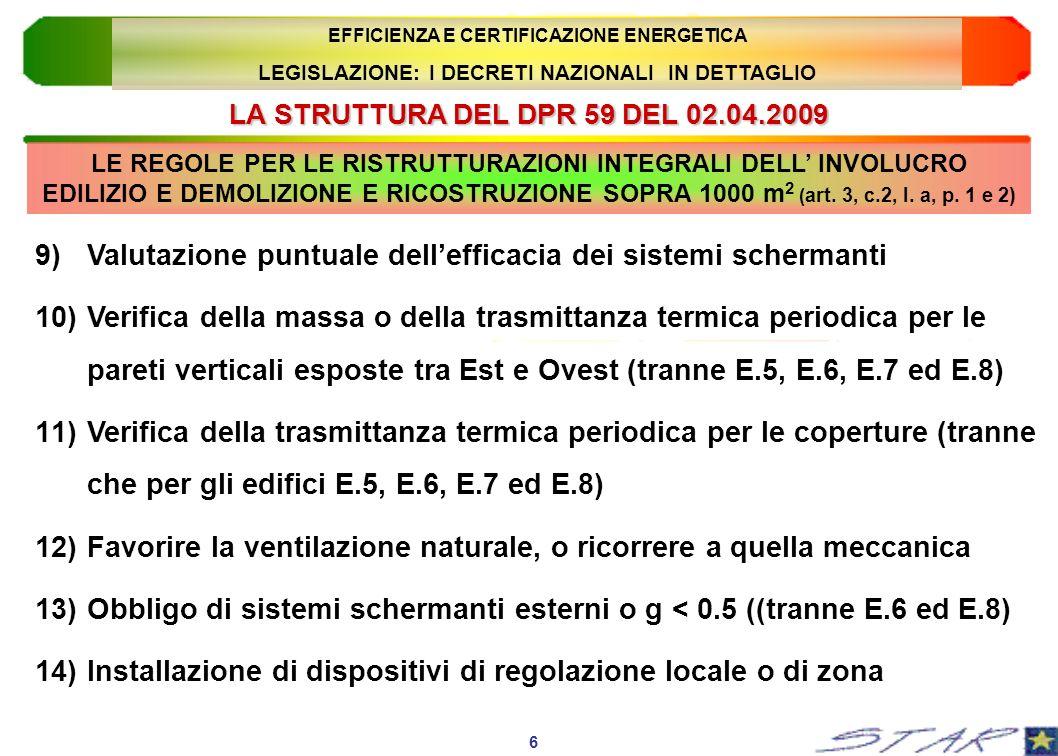 LA STRUTTURA DEL DPR 59 DEL 02.04.2009 17 EFFICIENZA E CERTIFICAZIONE ENERGETICA LEGISLAZIONE: I DECRETI NAZIONALI IN DETTAGLIO 9)Installazione di dispositivi di regolazione centralizzata, cronotermostati ambiente e contabilizzazione; 10)Obbligo di ricorso alle fonti rinnovabili (o assimilate) per la produzione di energia elettrica e termica.