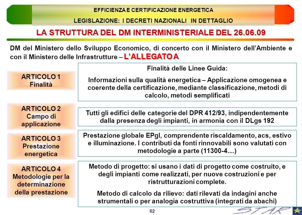 LA STRUTTURA DEL DM INTERMINISTERIALE DEL 26.06.09 ARTICOLO 1 Finalità 62 EFFICIENZA E CERTIFICAZIONE ENERGETICA LEGISLAZIONE: I DECRETI NAZIONALI IN