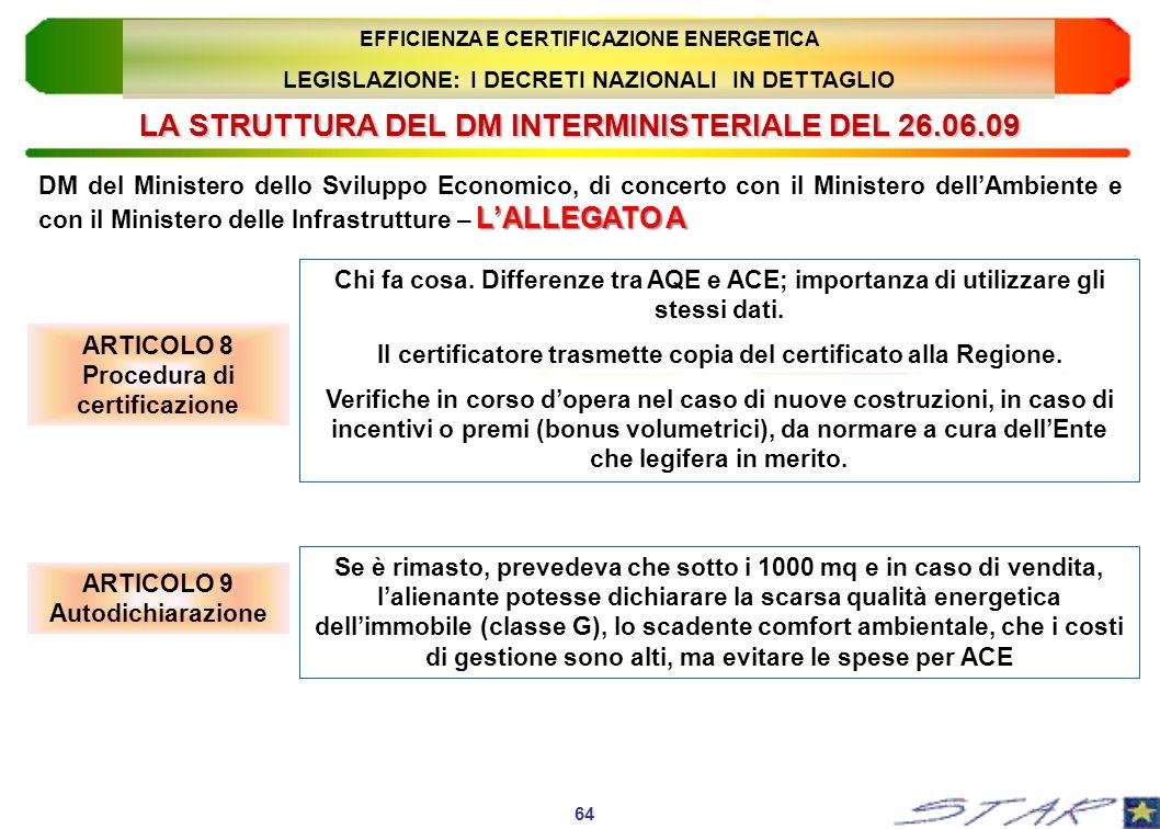 LA STRUTTURA DEL DM INTERMINISTERIALE DEL 26.06.09 ARTICOLO 8 Procedura di certificazione 64 EFFICIENZA E CERTIFICAZIONE ENERGETICA LEGISLAZIONE: I DE