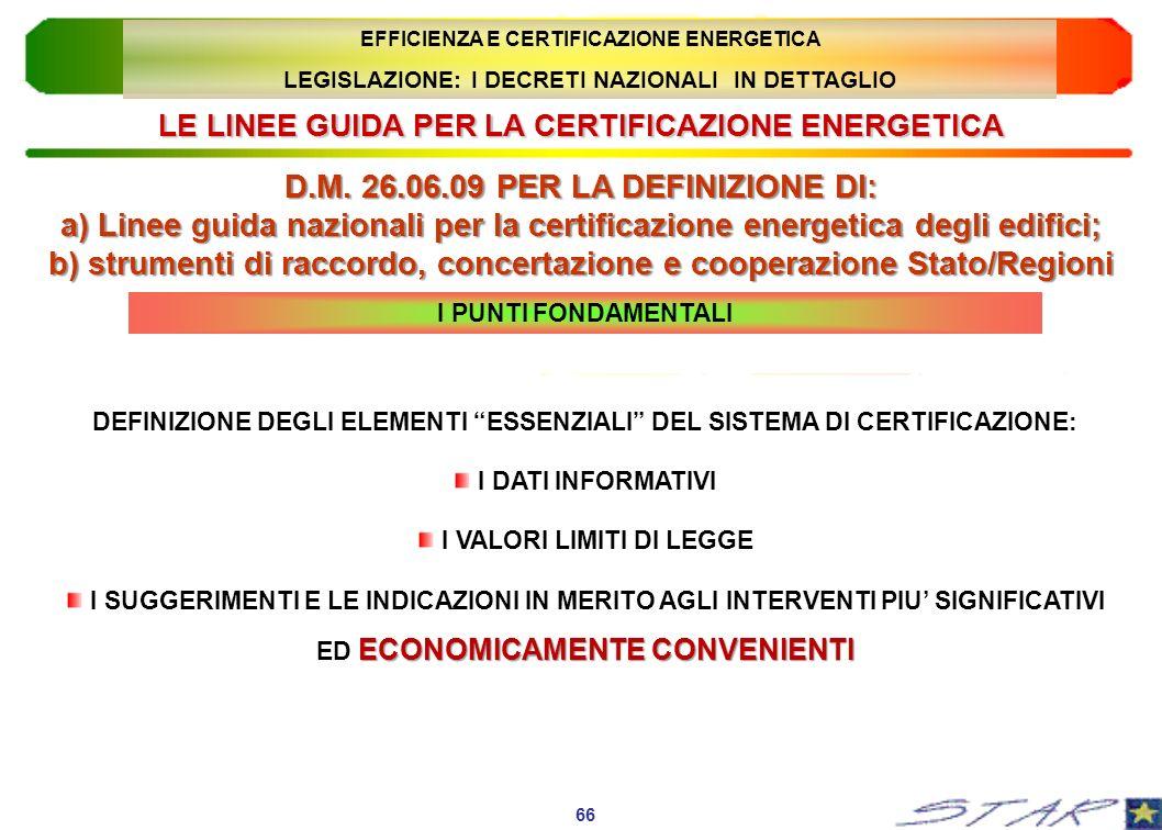 LE LINEE GUIDA PER LA CERTIFICAZIONE ENERGETICA D.M. 26.06.09 PER LA DEFINIZIONE DI: a) Linee guida nazionali per la certificazione energetica degli e