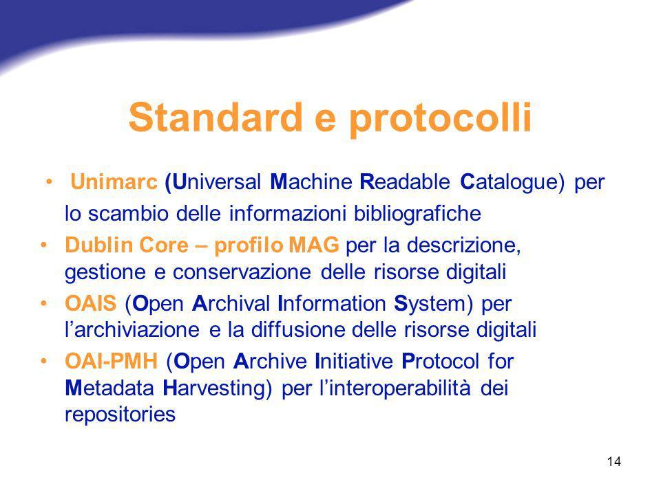 14 Standard e protocolli Unimarc (Universal Machine Readable Catalogue) per lo scambio delle informazioni bibliografiche Dublin Core – profilo MAG per