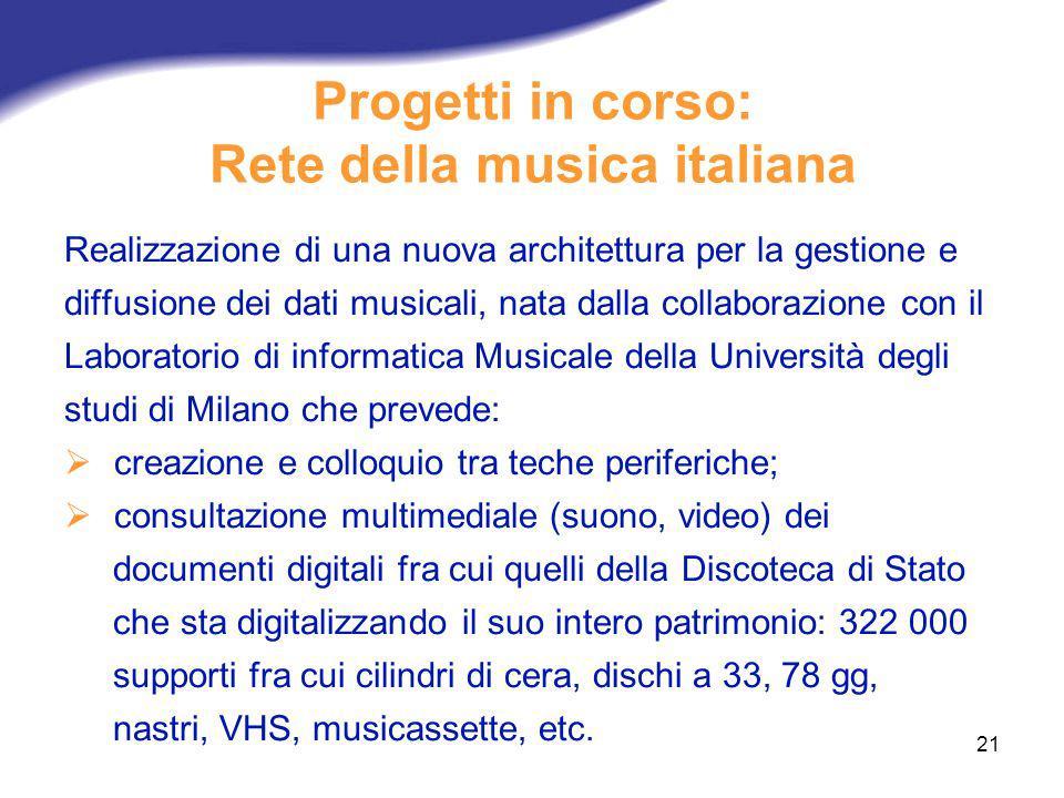 21 Progetti in corso: Rete della musica italiana Realizzazione di una nuova architettura per la gestione e diffusione dei dati musicali, nata dalla co
