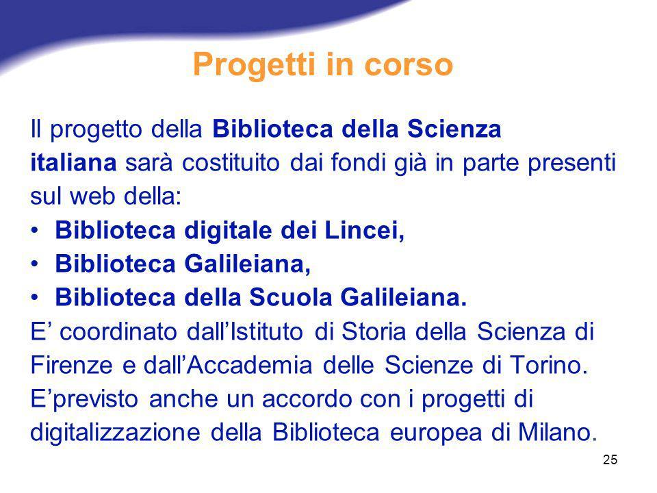 25 Progetti in corso Il progetto della Biblioteca della Scienza italiana sarà costituito dai fondi già in parte presenti sul web della: Biblioteca dig