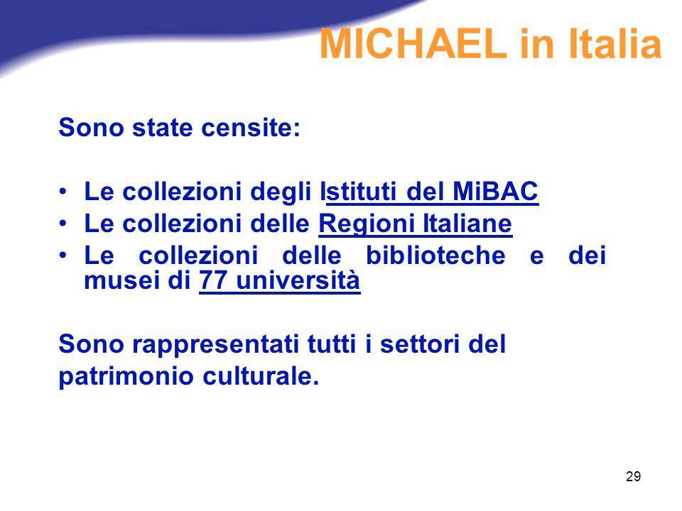 29 Sono state censite: Le collezioni degli Istituti del MiBAC Le collezioni delle Regioni Italiane Le collezioni delle biblioteche e dei musei di 77 u