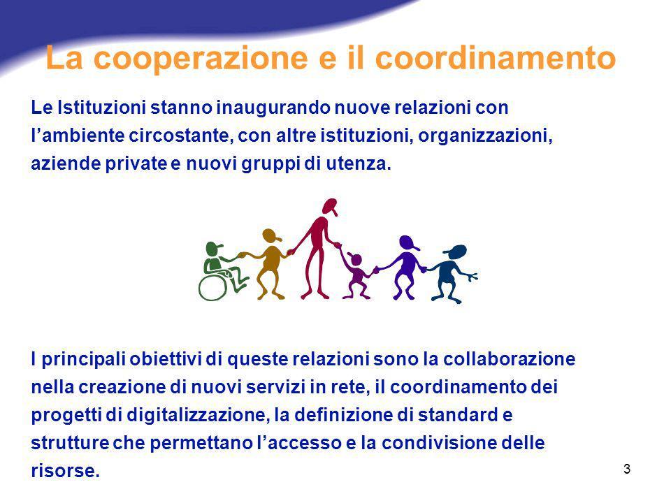 3 La cooperazione e il coordinamento Le Istituzioni stanno inaugurando nuove relazioni con lambiente circostante, con altre istituzioni, organizzazion