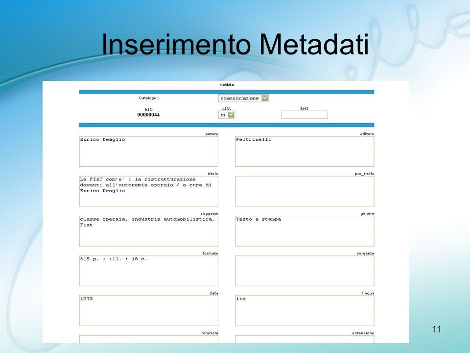 ISMB11 Inserimento Metadati