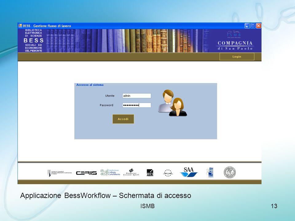 ISMB13 Applicazione BessWorkflow – Schermata di accesso