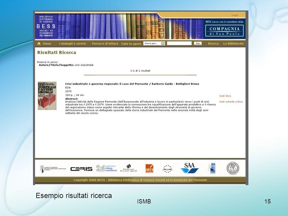 ISMB15 Esempio risultati ricerca