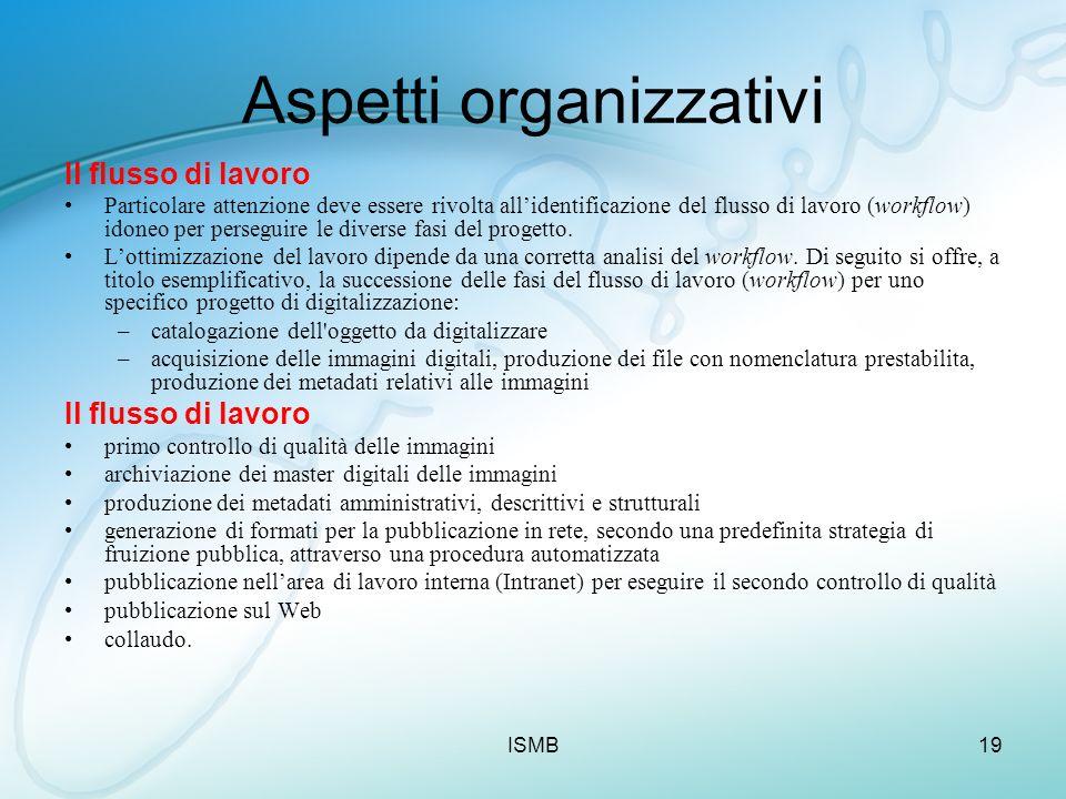 ISMB19 Aspetti organizzativi Il flusso di lavoro Particolare attenzione deve essere rivolta allidentificazione del flusso di lavoro (workflow) idoneo