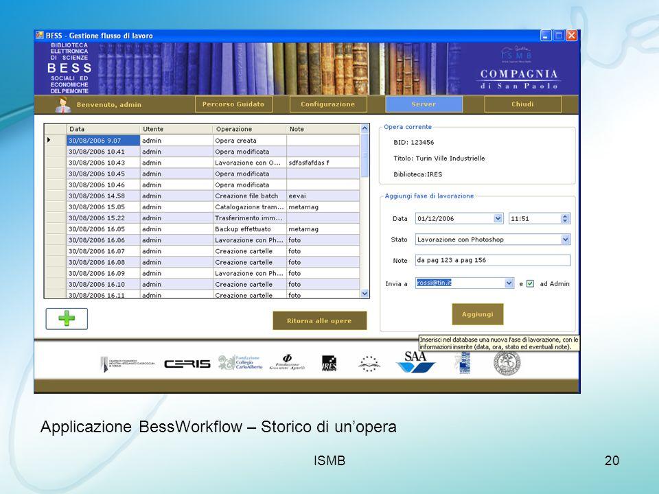ISMB20 Applicazione BessWorkflow – Storico di unopera