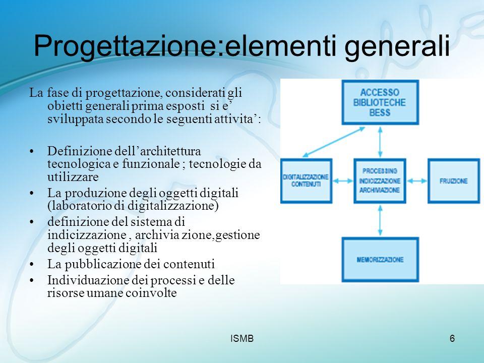 ISMB6 Progettazione:elementi generali La fase di progettazione, considerati gli obietti generali prima esposti si e sviluppata secondo le seguenti att
