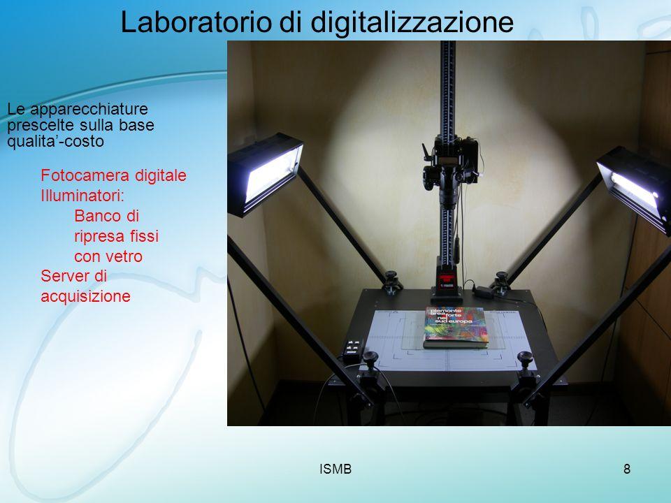 ISMB8 Laboratorio di digitalizzazione Le apparecchiature prescelte sulla base qualita-costo Fotocamera digitale Illuminatori: Banco di ripresa fissi c