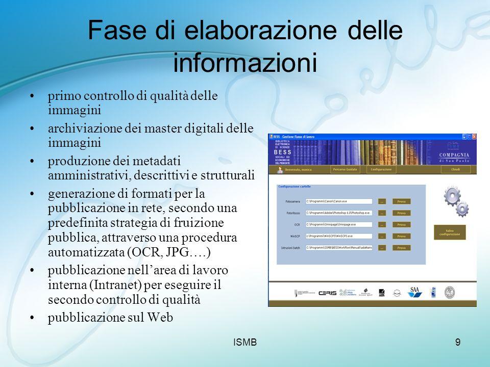 ISMB9 Fase di elaborazione delle informazioni primo controllo di qualità delle immagini archiviazione dei master digitali delle immagini produzione de