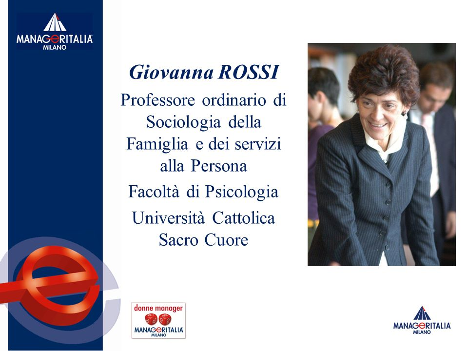 Giovanna ROSSI Professore ordinario di Sociologia della Famiglia e dei servizi alla Persona Facoltà di Psicologia Università Cattolica Sacro Cuore