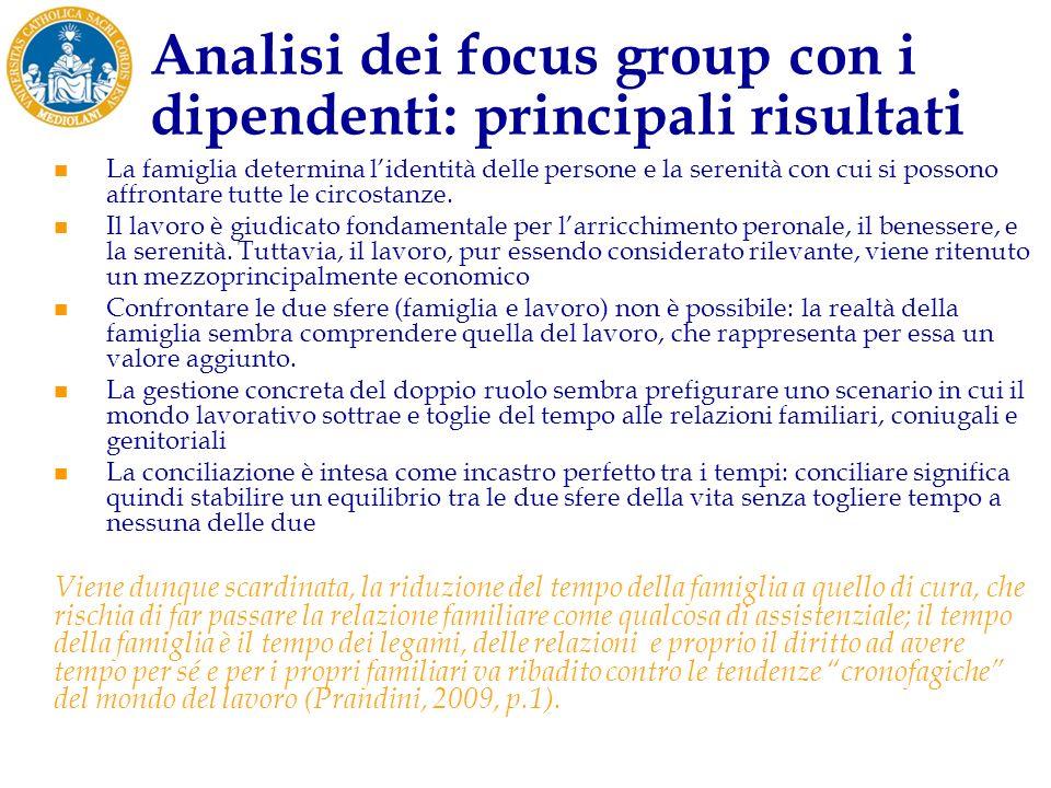 Analisi dei focus group con i dipendenti: principali risultat i La famiglia determina lidentità delle persone e la serenità con cui si possono affrontare tutte le circostanze.