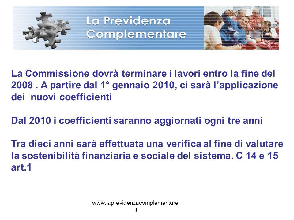 www.laprevidenzacomplementare. it La Commissione dovrà terminare i lavori entro la fine del 2008. A partire dal 1° gennaio 2010, ci sarà lapplicazione