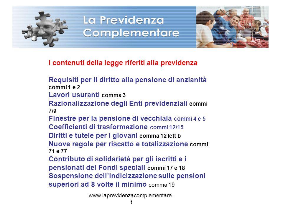 www.laprevidenzacomplementare. it I contenuti della legge riferiti alla previdenza Requisiti per il diritto alla pensione di anzianità commi 1 e 2 Lav