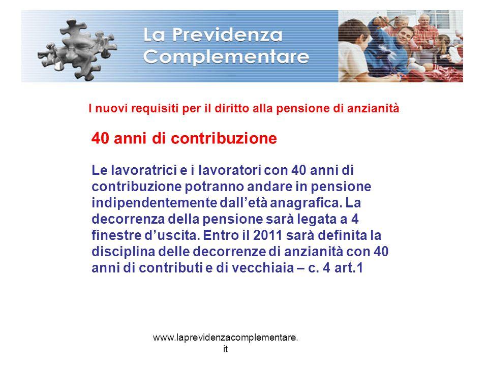 www.laprevidenzacomplementare. it I nuovi requisiti per il diritto alla pensione di anzianità 40 anni di contribuzione Le lavoratrici e i lavoratori c