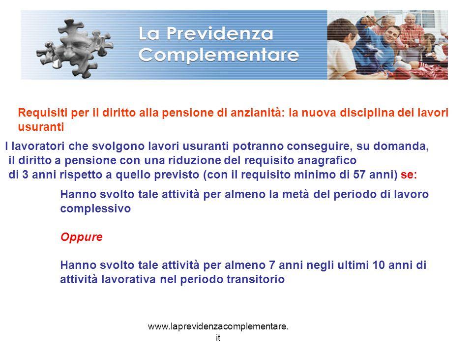 www.laprevidenzacomplementare. it Requisiti per il diritto alla pensione di anzianità: la nuova disciplina dei lavori usuranti I lavoratori che svolgo
