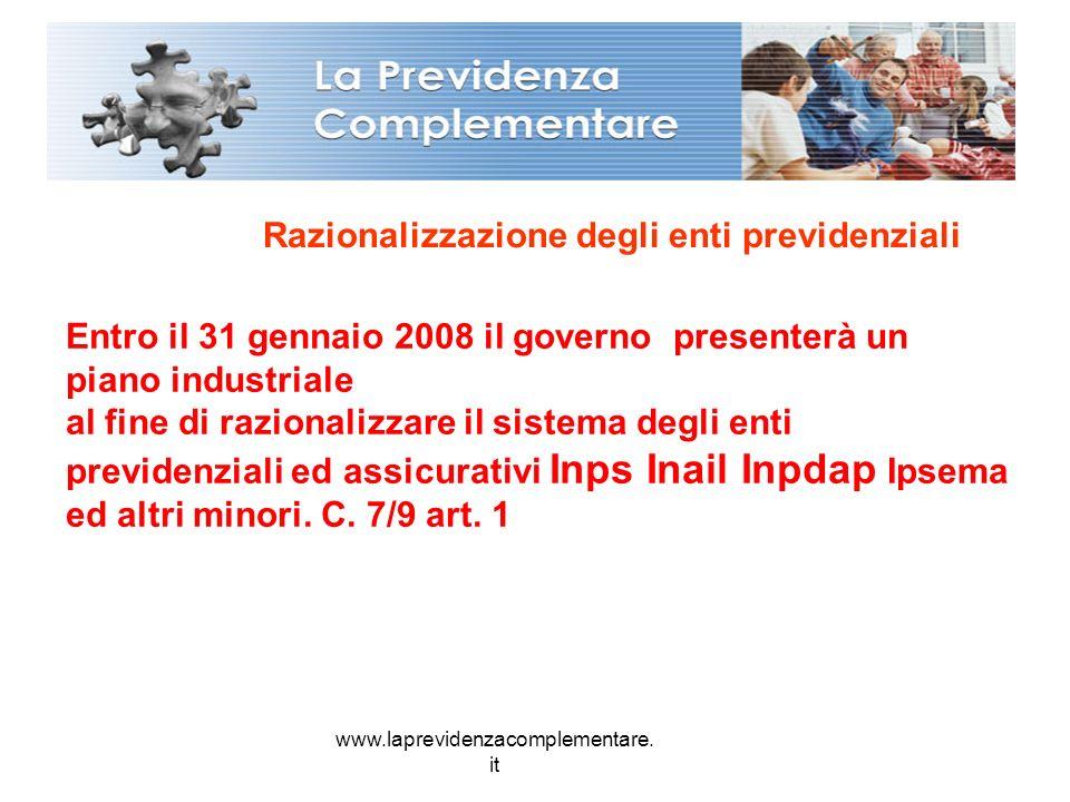 www.laprevidenzacomplementare. it Razionalizzazione degli enti previdenziali Entro il 31 gennaio 2008 il governo presenterà un piano industriale al fi