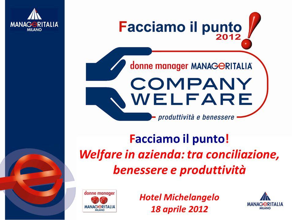 Facciamo il punto! Welfare in azienda: tra conciliazione, benessere e produttività Hotel Michelangelo 18 aprile 2012