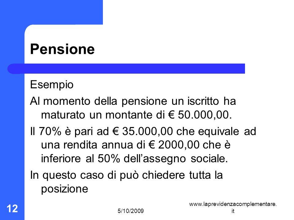 5/10/2009 www.laprevidenzacomplementare. it 12 Pensione Esempio Al momento della pensione un iscritto ha maturato un montante di 50.000,00. Il 70% è p