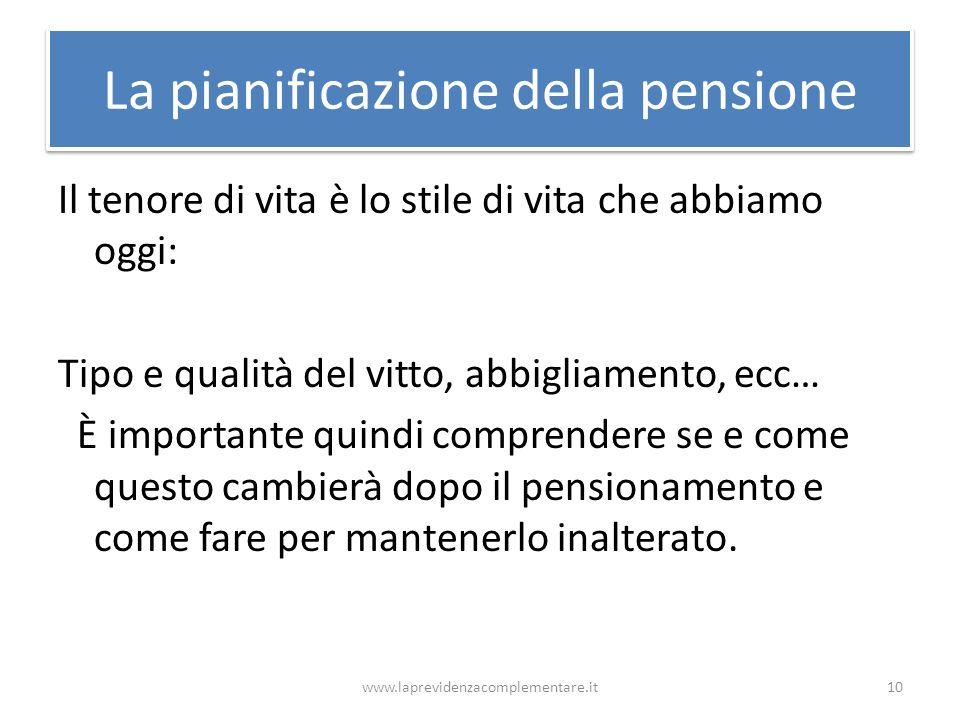 La pianificazione della pensione Il tenore di vita è lo stile di vita che abbiamo oggi: Tipo e qualità del vitto, abbigliamento, ecc… È importante qui
