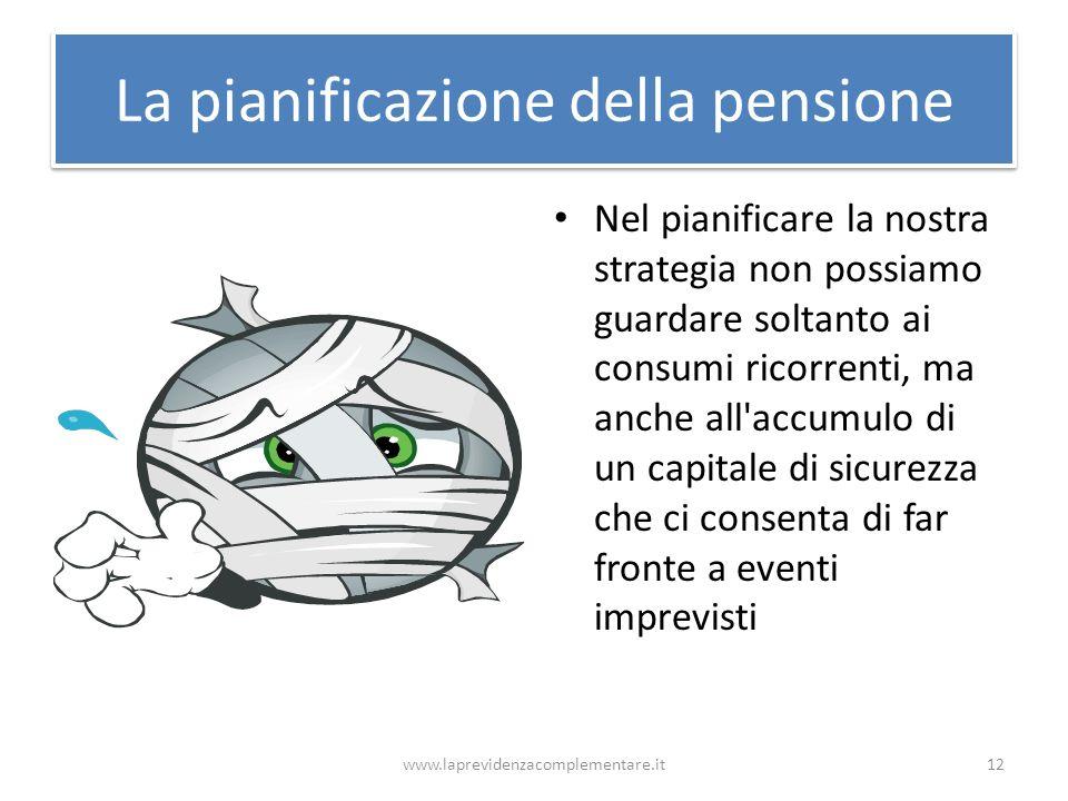 La pianificazione della pensione Nel pianificare la nostra strategia non possiamo guardare soltanto ai consumi ricorrenti, ma anche all'accumulo di un