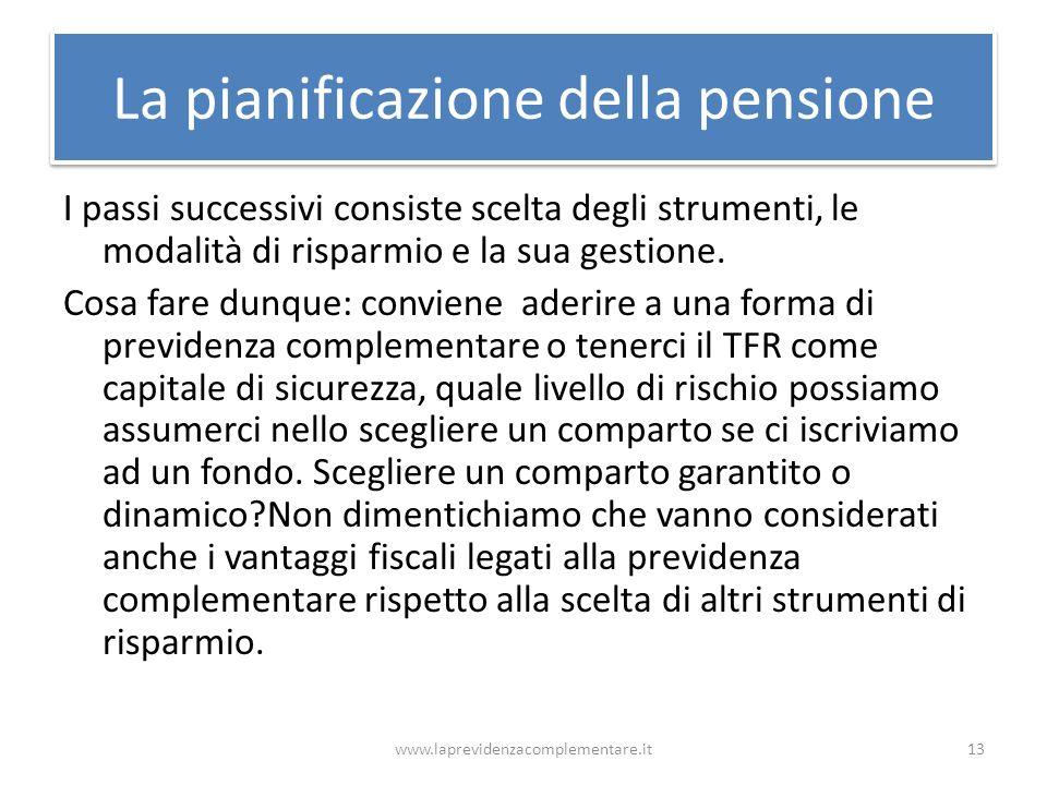La pianificazione della pensione I passi successivi consiste scelta degli strumenti, le modalità di risparmio e la sua gestione. Cosa fare dunque: con