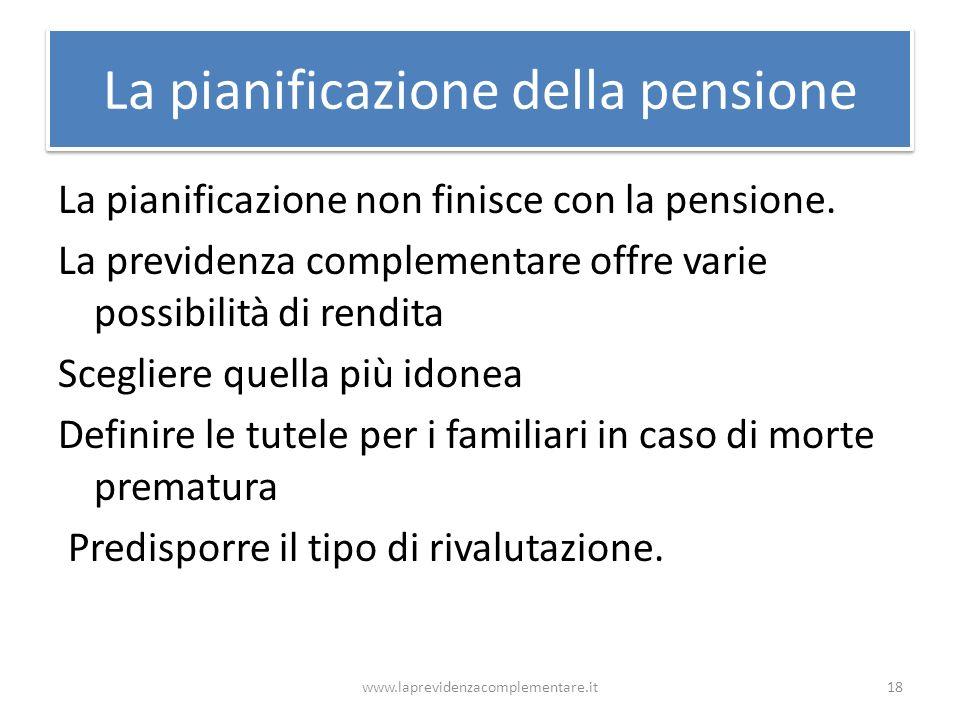 La pianificazione della pensione La pianificazione non finisce con la pensione. La previdenza complementare offre varie possibilità di rendita Sceglie