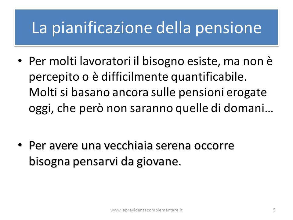La pianificazione della pensione Per molti lavoratori il bisogno esiste, ma non è percepito o è difficilmente quantificabile. Molti si basano ancora s