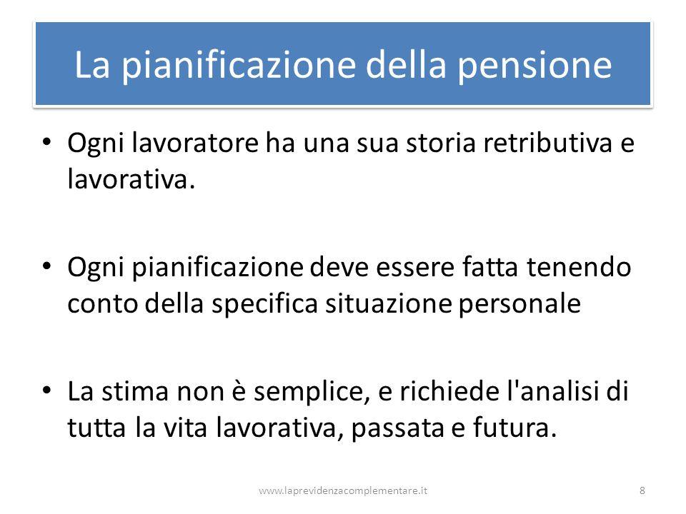 La pianificazione della pensione Ogni lavoratore ha una sua storia retributiva e lavorativa. Ogni pianificazione deve essere fatta tenendo conto della