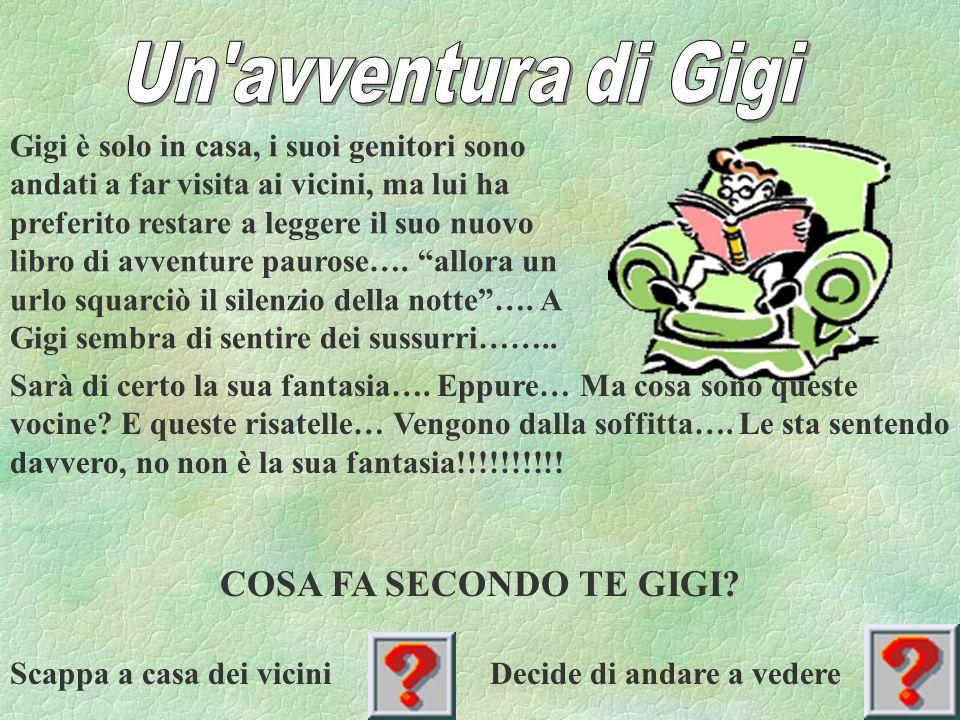 Gigi è solo in casa, i suoi genitori sono andati a far visita ai vicini, ma lui ha preferito restare a leggere il suo nuovo libro di avventure paurose….