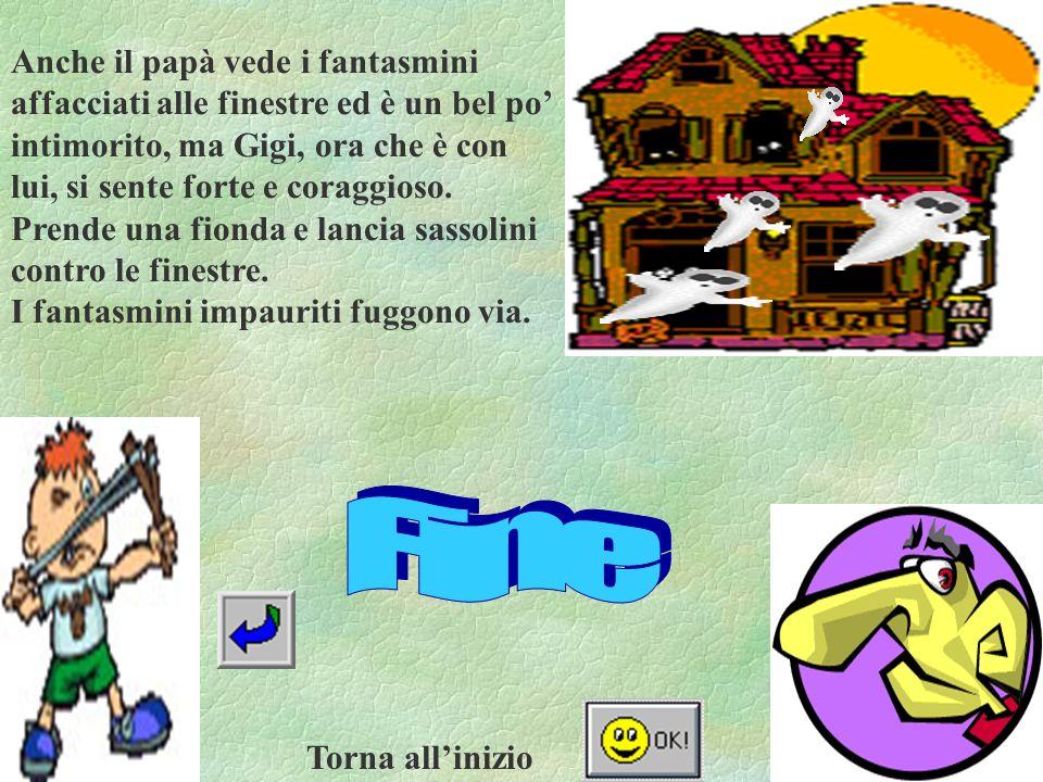 Anche il papà vede i fantasmini affacciati alle finestre ed è un bel po intimorito, ma Gigi, ora che è con lui, si sente forte e coraggioso.