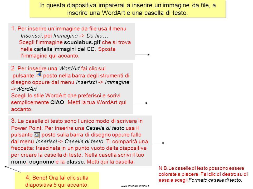www.latecadidattica.it In questa diapositiva imparerai a inserire forme, colorarle e aggiungere a esse unanimazione.
