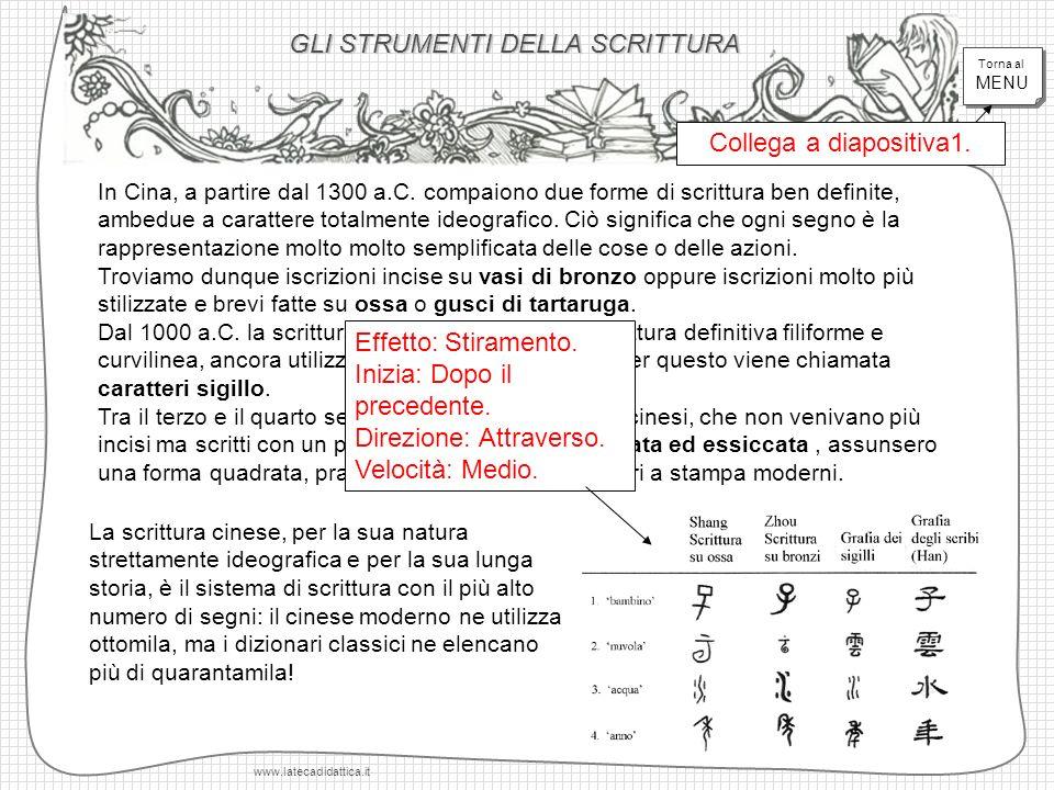 GLI STRUMENTI DELLA SCRITTURA www.latecadidattica.it In Cina, a partire dal 1300 a.C. compaiono due forme di scrittura ben definite, ambedue a caratte