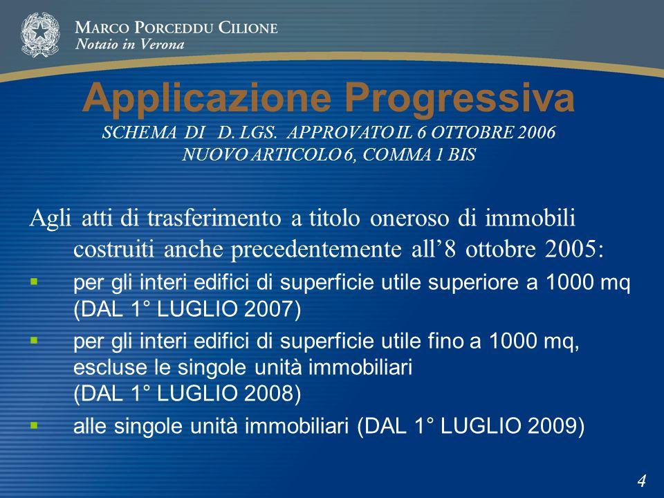 Applicazione Progressiva SCHEMA DI D. LGS. APPROVATO IL 6 OTTOBRE 2006 NUOVO ARTICOLO 6, COMMA 1 BIS Agli atti di trasferimento a titolo oneroso di im