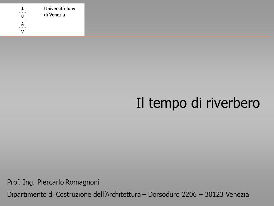 Il tempo di riverbero Prof. Ing. Piercarlo Romagnoni Dipartimento di Costruzione dellArchitettura – Dorsoduro 2206 – 30123 Venezia