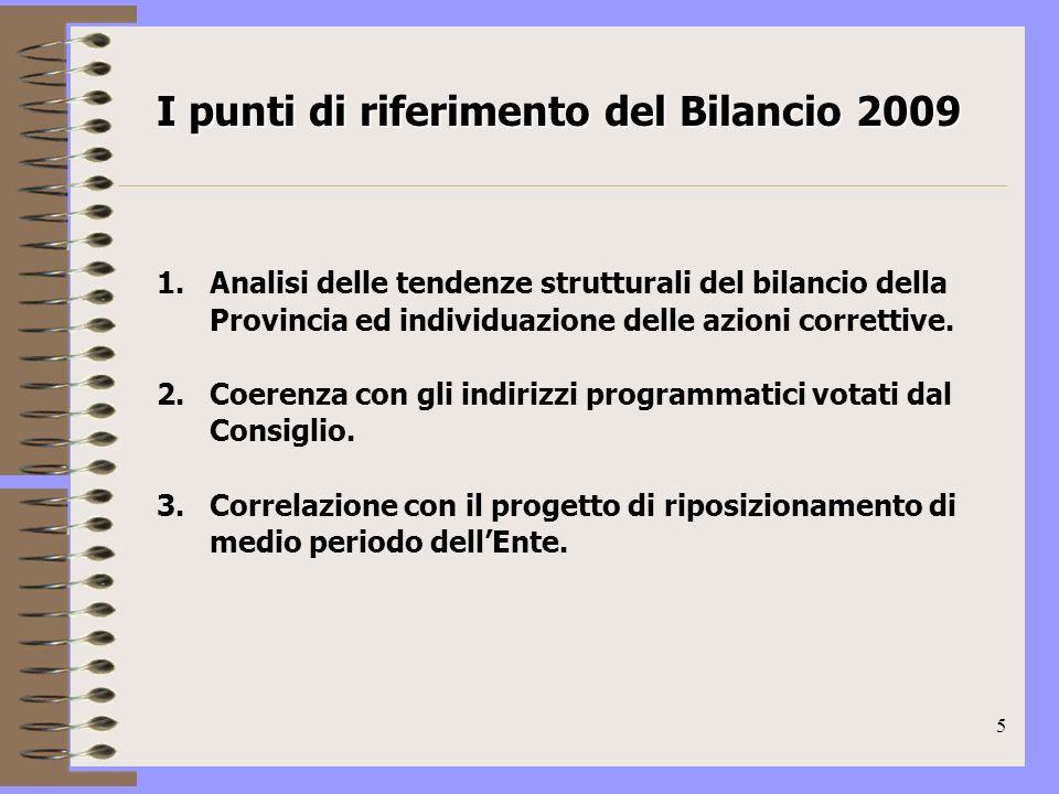 5 1.Analisi delle tendenze strutturali del bilancio della Provincia ed individuazione delle azioni correttive.