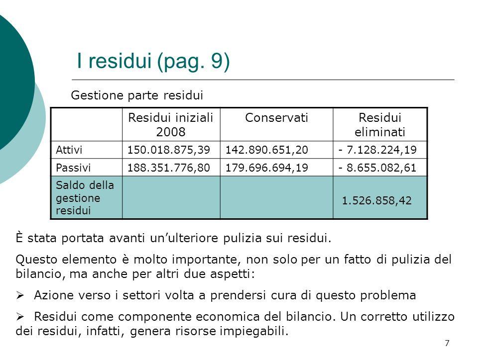 7 I residui (pag. 9) Residui iniziali 2008 ConservatiResidui eliminati Attivi150.018.875,39142.890.651,20- 7.128.224,19 Passivi188.351.776,80179.696.6