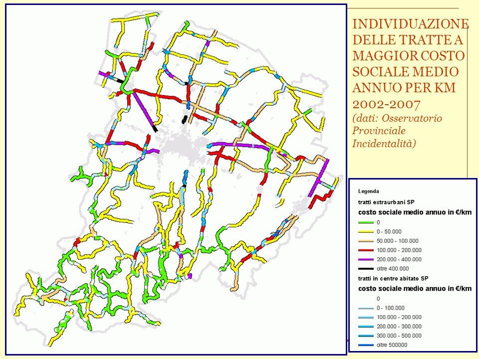 Il controllo delle velocità per la sicurezza stradale – Aggiornamento 2008 Conferenza Stampa 26 settembre 2008 INDIVIDUAZIONE DELLE TRATTE A MAGGIOR COSTO SOCIALE MEDIO ANNUO PER KM 2002-2007 (dati: Osservatorio Provinciale Incidentalità)