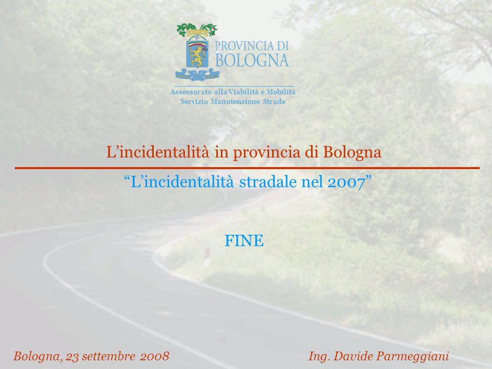 Lincidentalità in provincia di Bologna Lincidentalità stradale nel 2007 FINE Bologna, 23 settembre 2008 Ing.