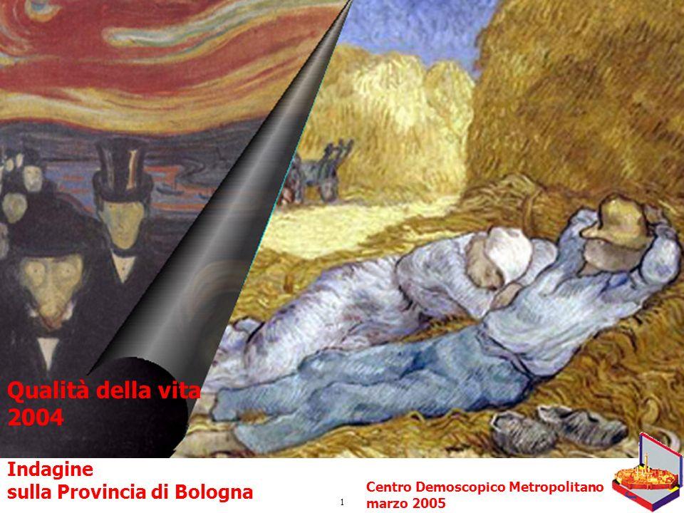 1 Qualità della vita 2004 Indagine sulla Provincia di Bologna Centro Demoscopico Metropolitano marzo 2005